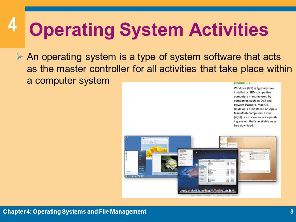 4 Operating System Activities  An operating system is a type of system software that acts as the master controller for all activities that take place within a computer system Chapter 4: Operating Systems and File Management8