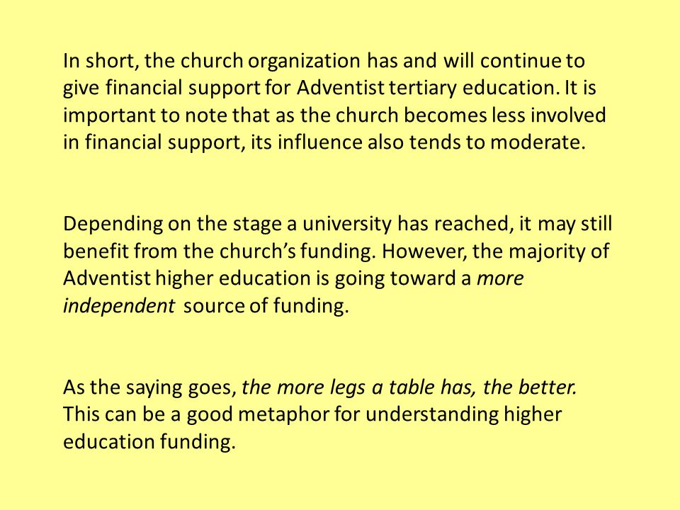 In short, the church organization has and will continue to give financial support for Adventist tertiary education.