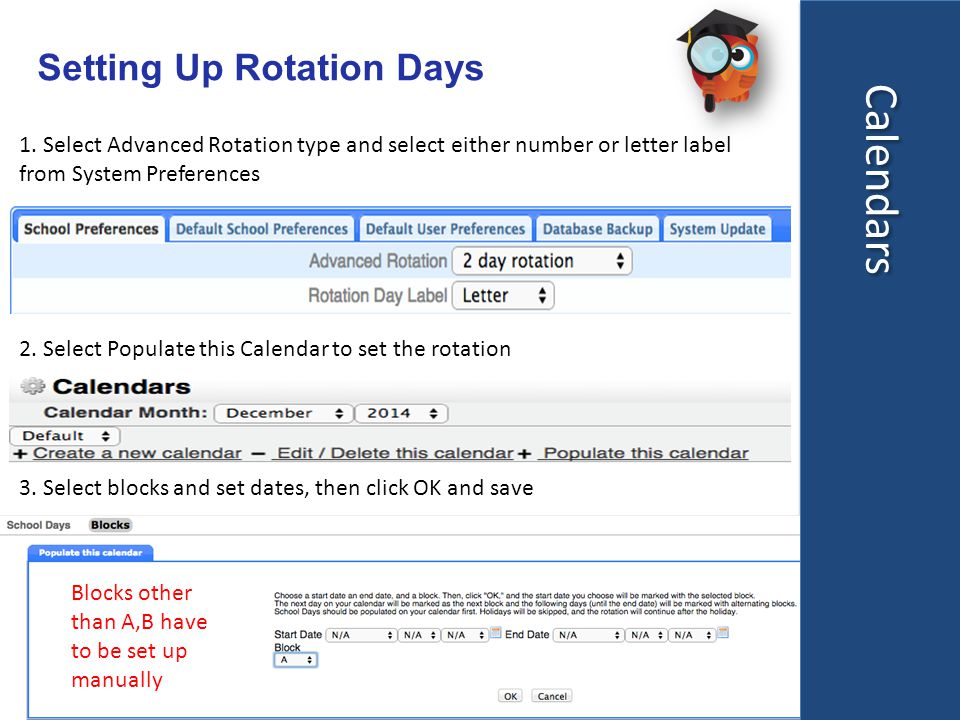 Calendars Setting Up Rotation Days 1.
