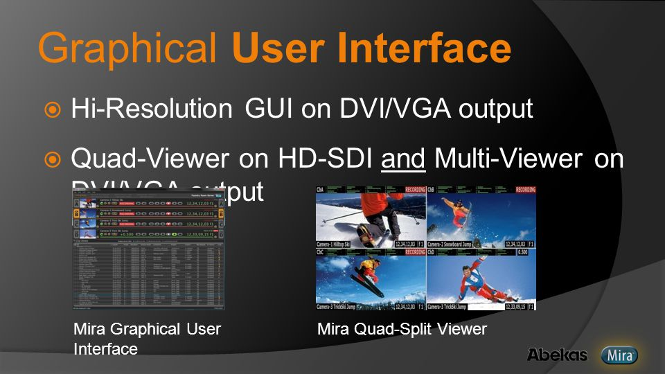 Graphical User Interface  Hi-Resolution GUI on DVI/VGA output  Quad-Viewer on HD-SDI and Multi-Viewer on DVI/VGA output Mira Quad-Split Viewer Mira Graphical User Interface