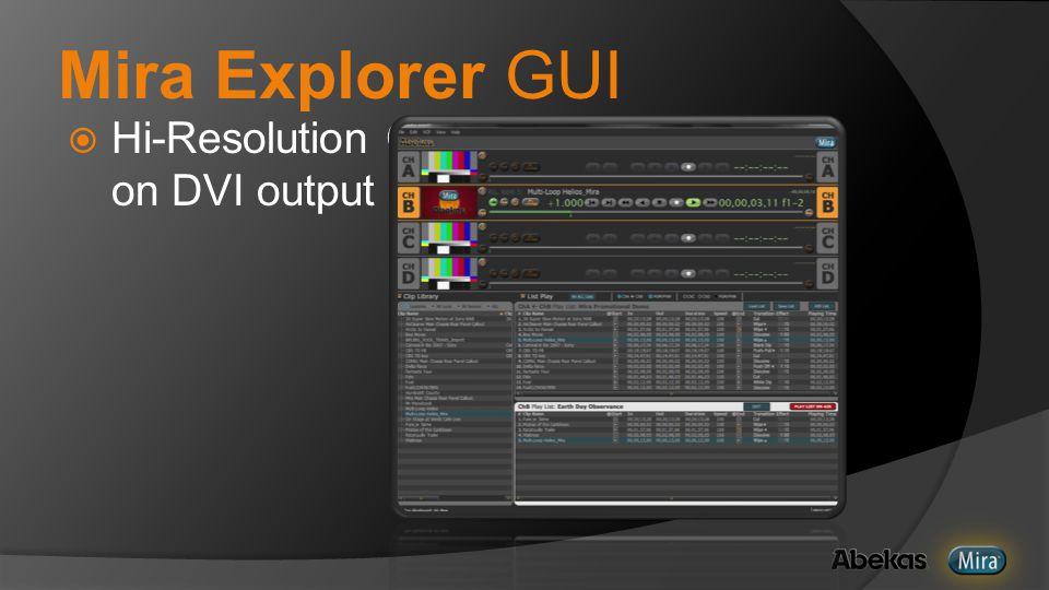 Mira Explorer GUI  Hi-Resolution GUI on DVI output