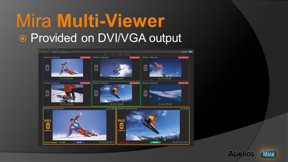 Mira Multi-Viewer  Provided on DVI/VGA output