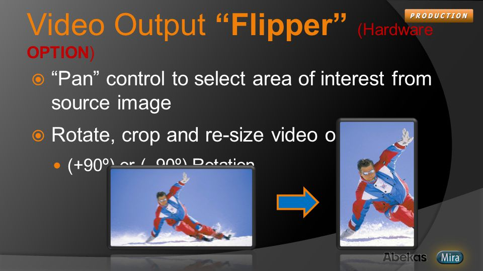 Video Output Flipper (Hardware OPTION)  Pan control to select area of interest from source image  Rotate, crop and re-size video outputs (+90º) or (–90º) Rotation