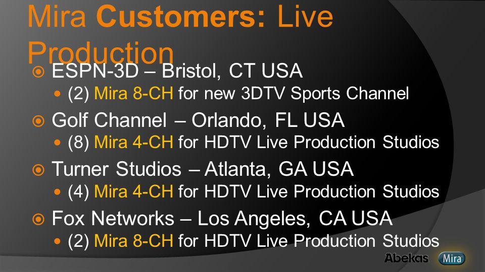 Mira Customers: Live Production  ESPN-3D – Bristol, CT USA (2) Mira 8-CH for new 3DTV Sports Channel  Golf Channel – Orlando, FL USA (8) Mira 4-CH for HDTV Live Production Studios  Turner Studios – Atlanta, GA USA (4) Mira 4-CH for HDTV Live Production Studios  Fox Networks – Los Angeles, CA USA (2) Mira 8-CH for HDTV Live Production Studios