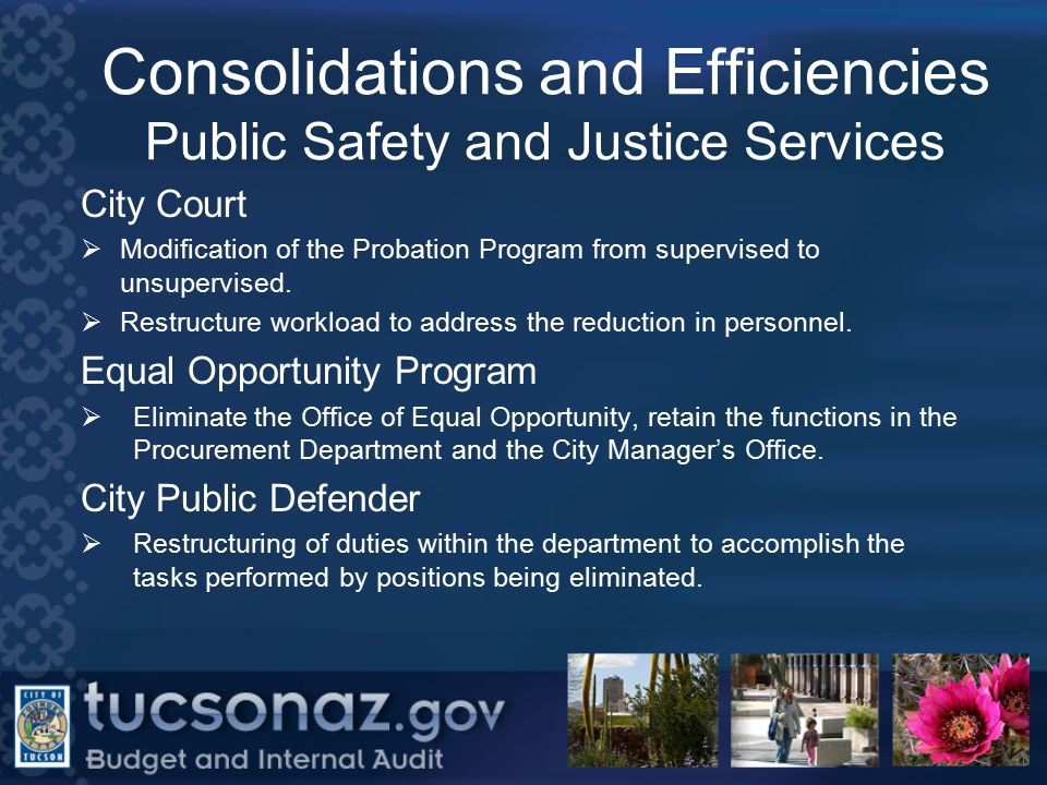 Consolidations and Efficiencies Public Safety and Justice Services City Court  Modification of the Probation Program from supervised to unsupervised.
