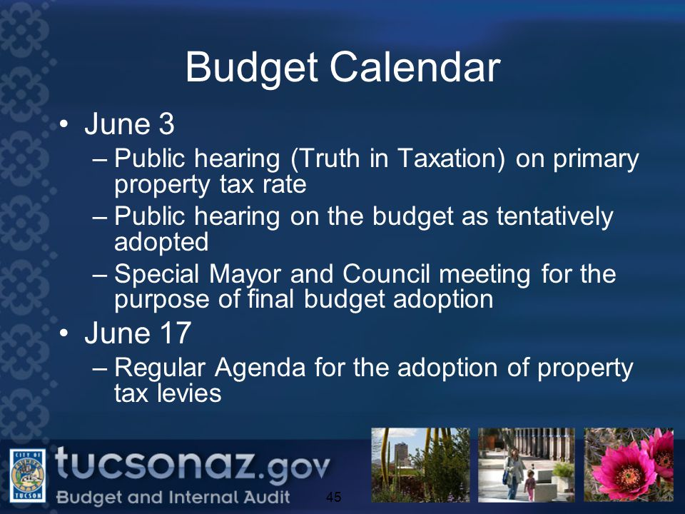 Budget Calendar June 3 –Public hearing (Truth in Taxation) on primary property tax rate –Public hearing on the budget as tentatively adopted –Special Mayor and Council meeting for the purpose of final budget adoption June 17 –Regular Agenda for the adoption of property tax levies 45