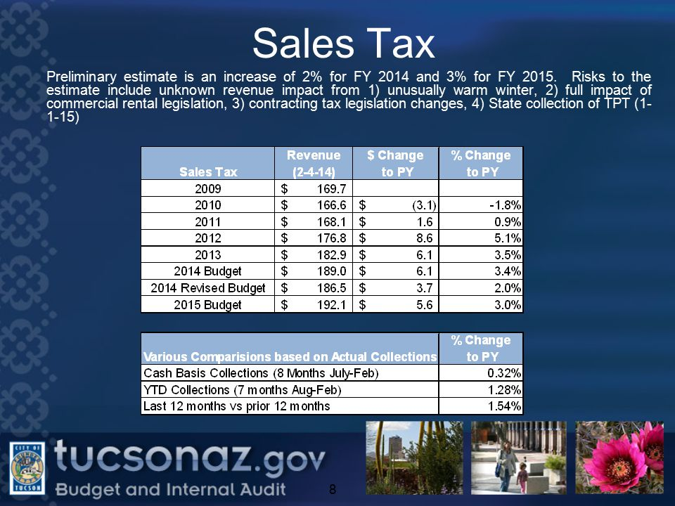 Sales Tax 8 Preliminary estimate is an increase of 2% for FY 2014 and 3% for FY 2015.