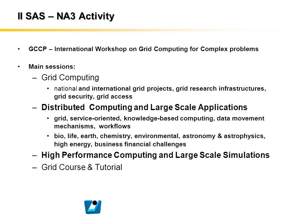 II SAS – NA3 Activity GCCP – International Workshop on Grid Computing for Complex problems Main sessions: –Grid Computing national and international g