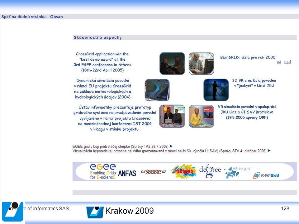 Institute of Informatics SAS Krakow 2009 128
