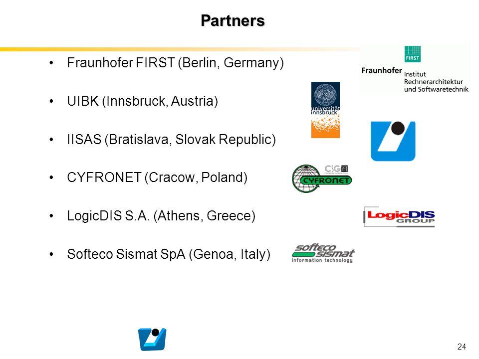 24 Partners Fraunhofer FIRST (Berlin, Germany) UIBK (Innsbruck, Austria) IISAS (Bratislava, Slovak Republic) CYFRONET (Cracow, Poland) LogicDIS S.A. (