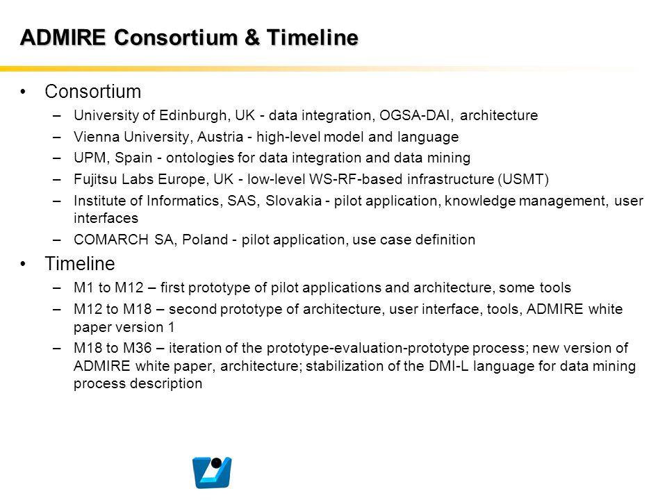 ADMIRE Consortium & Timeline Consortium –University of Edinburgh, UK - data integration, OGSA-DAI, architecture –Vienna University, Austria - high-lev