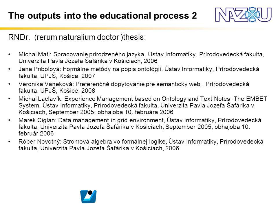 The outputs into the educational process 2 RNDr. (rerum naturalium doctor )thesis: Michal Mati: Spracovanie prirodzeného jazyka, Ústav Informatiky, Pr