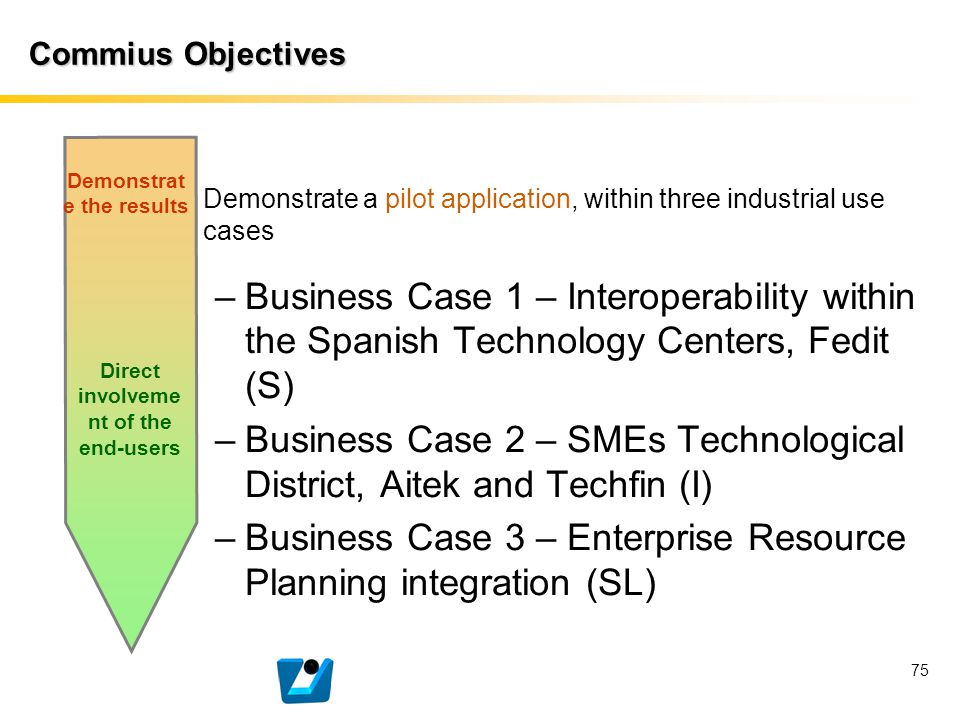 75 Commius Objectives Demonstrate a pilot application, within three industrial use cases –Business Case 1 – Interoperability within the Spanish Techno