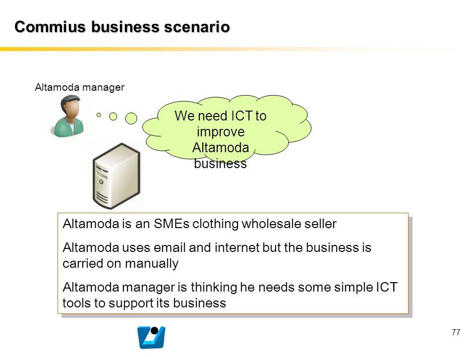 77 Commius business scenario Altamoda manager We need ICT to improve Altamoda business Altamoda is an SMEs clothing wholesale seller Altamoda uses ema