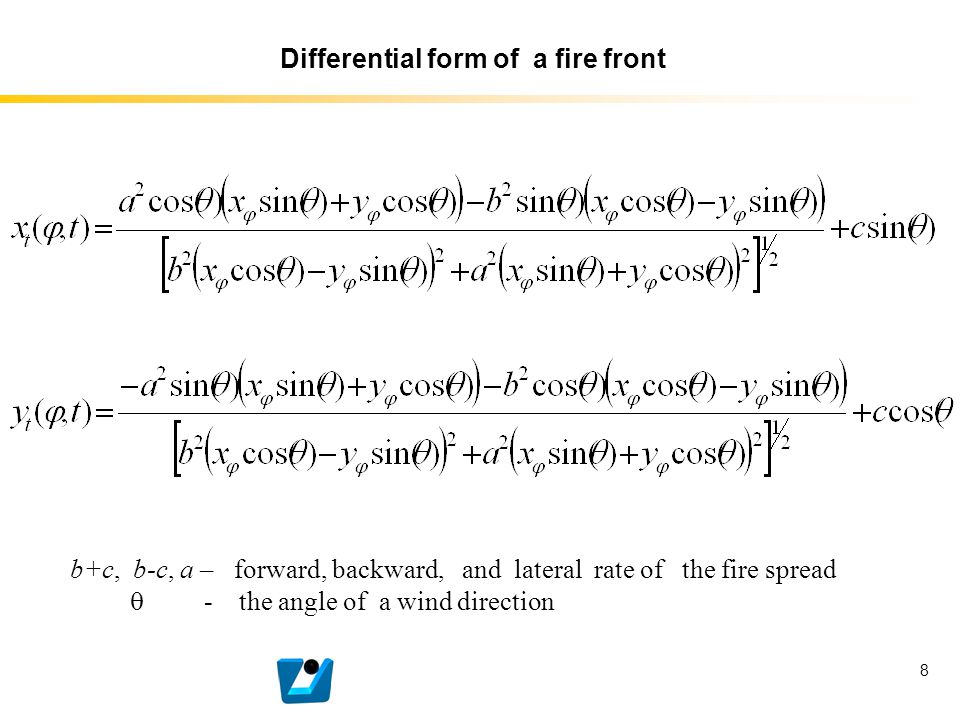 8 Differential form of a fire front b+c, b-c, a – forward, backward, and lateral rate of the fire spread  - the angle of a wind direction