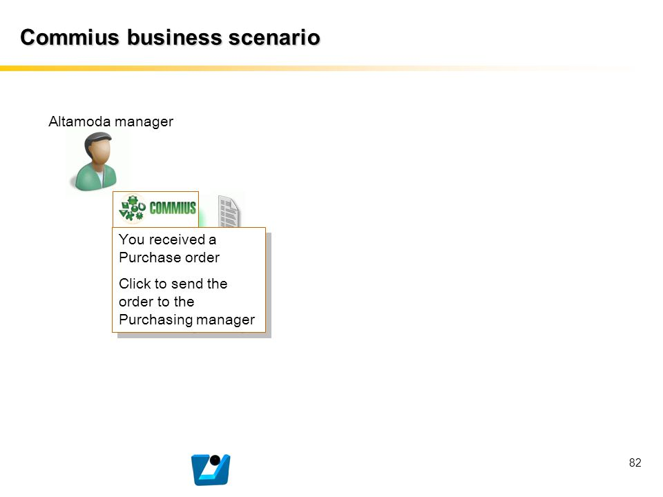 82 Commius business scenario Altamoda manager You received a Purchase order Click to send the order to the Purchasing manager You received a Purchase