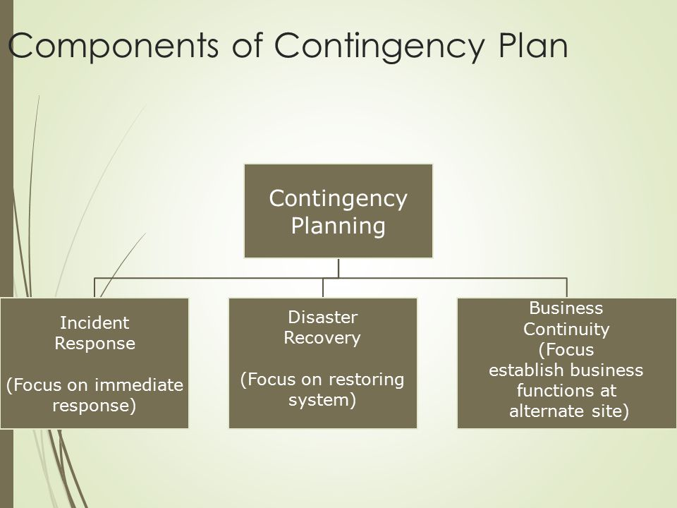 Contingency Planning Incident Response (Focus on immediate response) Disaster Recovery (Focus on restoring system) Business Continuity (Focus establis