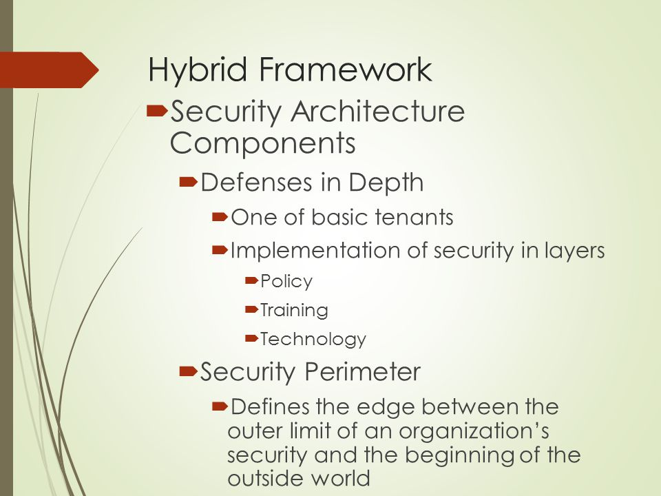 Hybrid Framework  Security Architecture Components  Defenses in Depth  One of basic tenants  Implementation of security in layers  Policy  Train