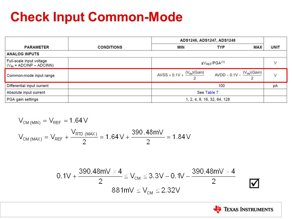 Check Input Common-Mode 