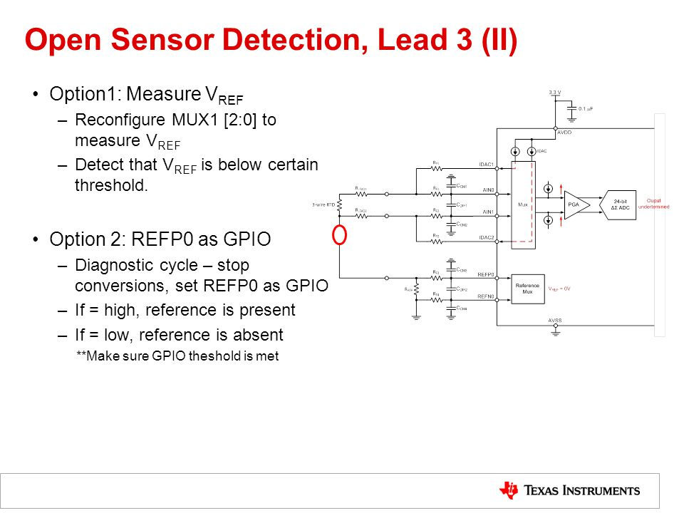 Open Sensor Detection, Lead 3 (II) Option1: Measure V REF –Reconfigure MUX1 [2:0] to measure V REF –Detect that V REF is below certain threshold.