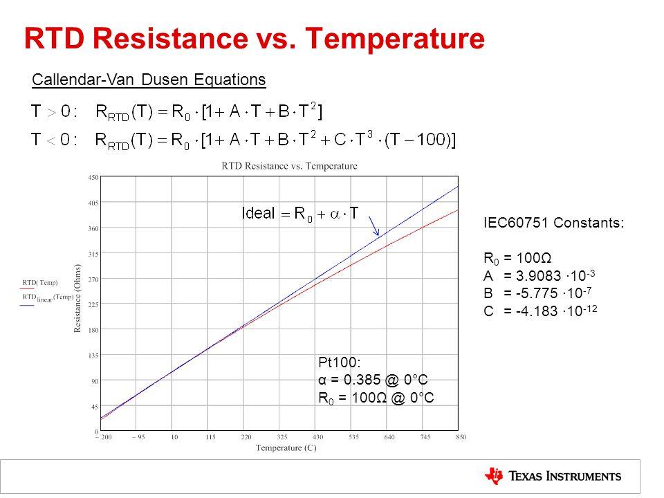 RTD Resistance vs. Temperature Callendar-Van Dusen Equations IEC60751 Constants: R 0 = 100Ω A= 3.9083 ∙10 -3 B= -5.775 ∙10 -7 C= -4.183 ∙10 -12 Pt100:
