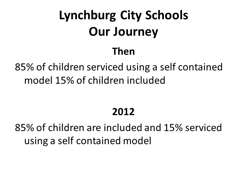 Lynchburg City Schools Our Journey Then 85% of children serviced using a self contained model 15% of children included 2012 85% of children are included and 15% serviced using a self contained model