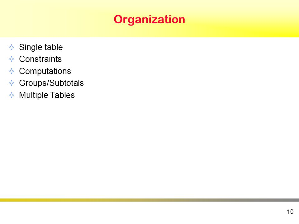 Organization  Single table  Constraints  Computations  Groups/Subtotals  Multiple Tables 10