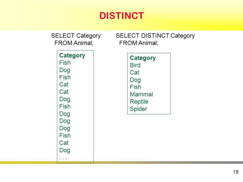 DISTINCT 15 SELECT Category FROM Animal; Category Fish Dog Fish Cat Dog Fish Dog Fish Cat Dog...