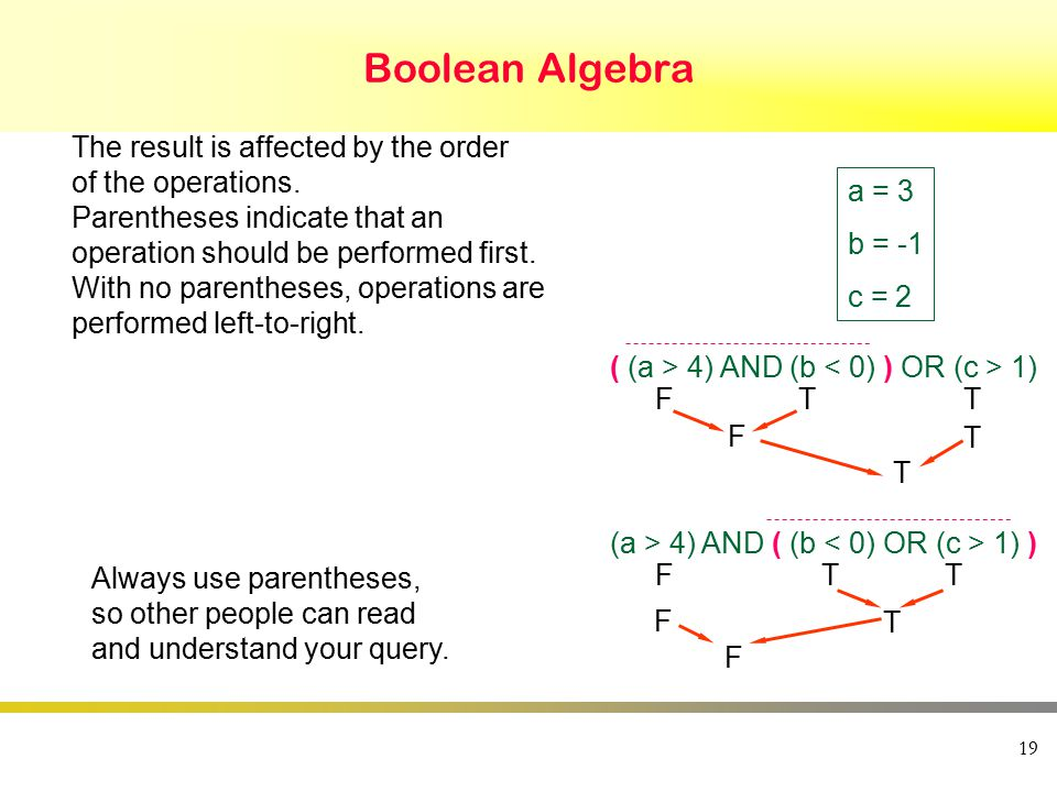 19 Boolean Algebra FT F T ( (a > 4) AND (b 1) T T FT F F (a > 4) AND ( (b 1) ) T T a = 3 b = -1 c = 2 The result is affected by the order of the operations.