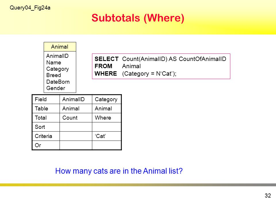 Subtotals (Where) 32 SELECTCount(AnimalID) AS CountOfAnimalID FROMAnimal WHERE(Category = N'Cat'); Query04_Fig24a AnimalID Name Category Breed DateBorn Gender Animal FieldAnimalIDCategory TableAnimal TotalCountWhere Sort Criteria'Cat' Or How many cats are in the Animal list