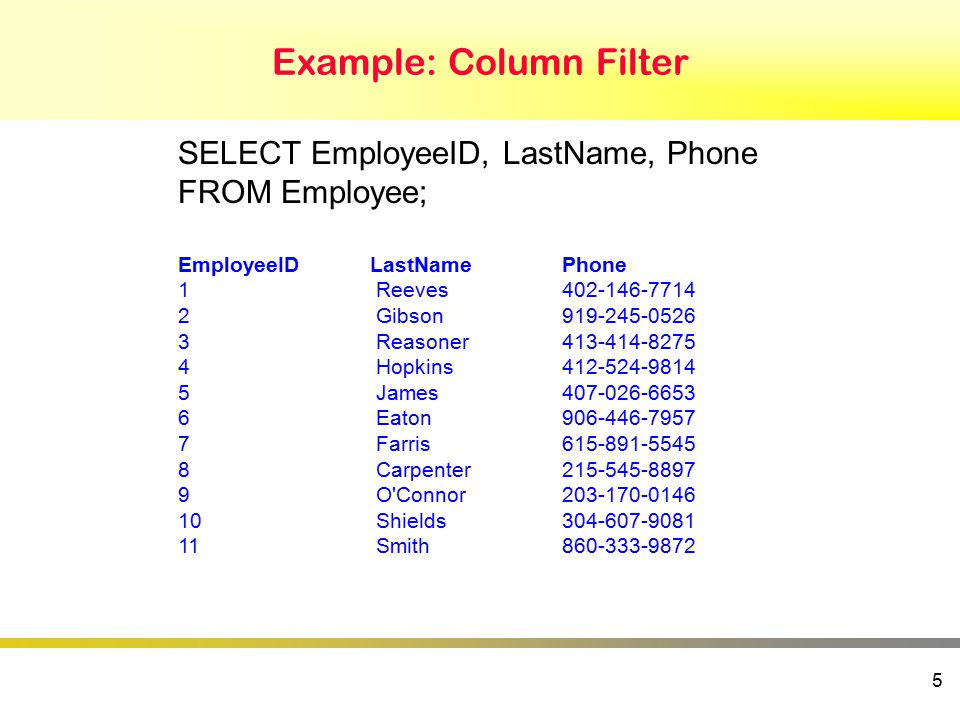 Example: Column Filter 5 SELECT EmployeeID, LastName, Phone FROM Employee; EmployeeIDLastNamePhone 1Reeves402-146-7714 2Gibson919-245-0526 3Reasoner413-414-8275 4Hopkins412-524-9814 5James407-026-6653 6Eaton906-446-7957 7Farris615-891-5545 8Carpenter215-545-8897 9O Connor203-170-0146 10Shields304-607-9081 11Smith860-333-9872