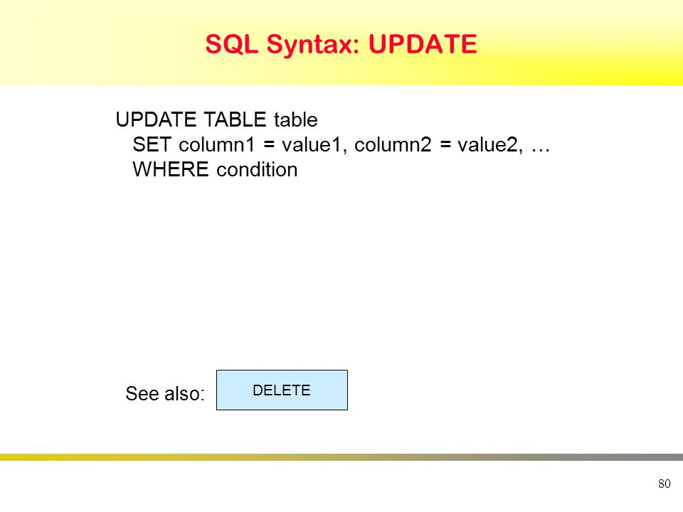 80 SQL Syntax: UPDATE UPDATE TABLE table SET column1 = value1, column2 = value2, … WHERE condition See also: DELETE