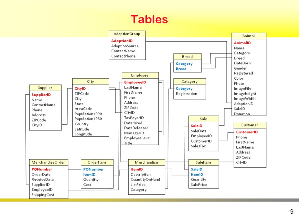 Tables 9