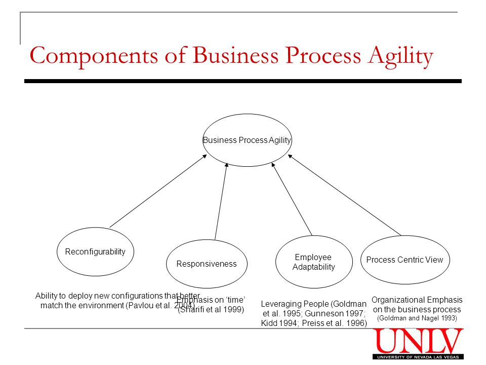 Components of Business Process Agility Business Process Agility Reconfigurability Ability to deploy new configurations that better match the environment (Pavlou et al.