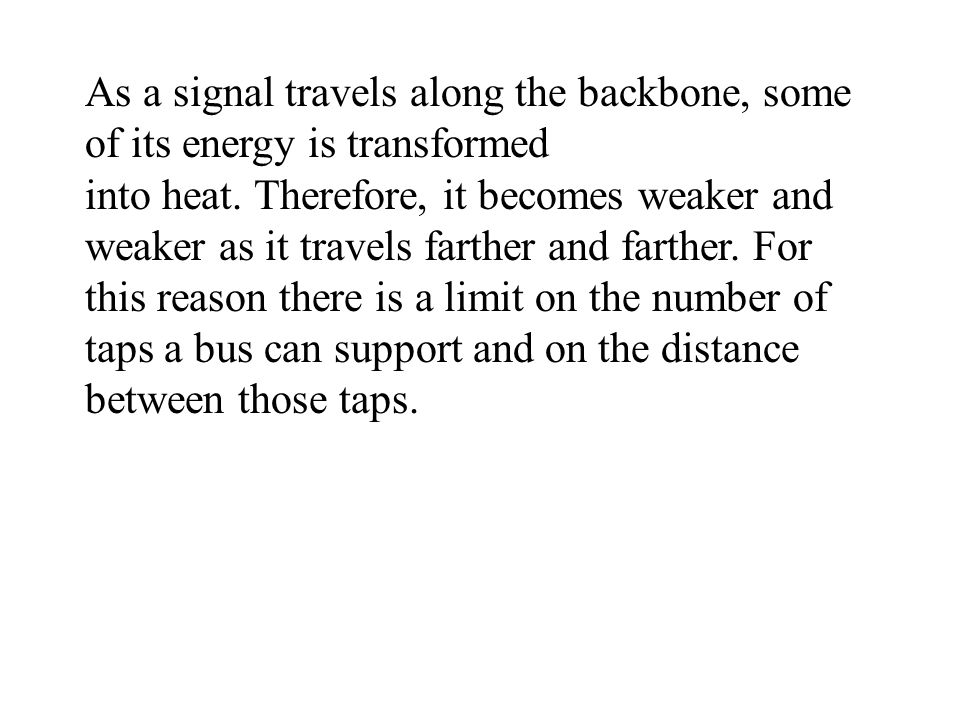 As a signal travels along the backbone, some of its energy is transformed into heat.