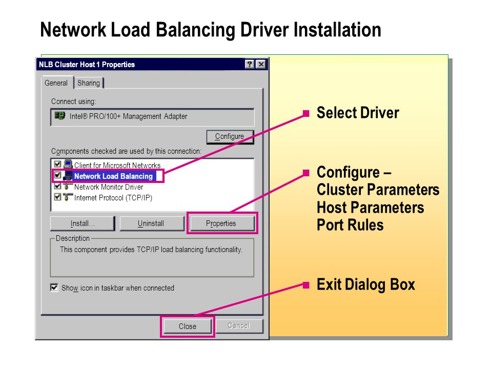 Network Load Balancing Driver Installation Select Driver Configure – Cluster Parameters Host Parameters Port Rules Exit Dialog Box NLB Cluster Host 1 Properties General Connect using: Configure Description Sharing Intel® PRO/100+ Management Adapter Components checked are used by this connection: Client for Microsoft Networks Network Load Balancing Network Monitor Driver Internet Protocol (TCP/IP) Install…UninstallProperties This component provides TCP/IP load balancing functionality.