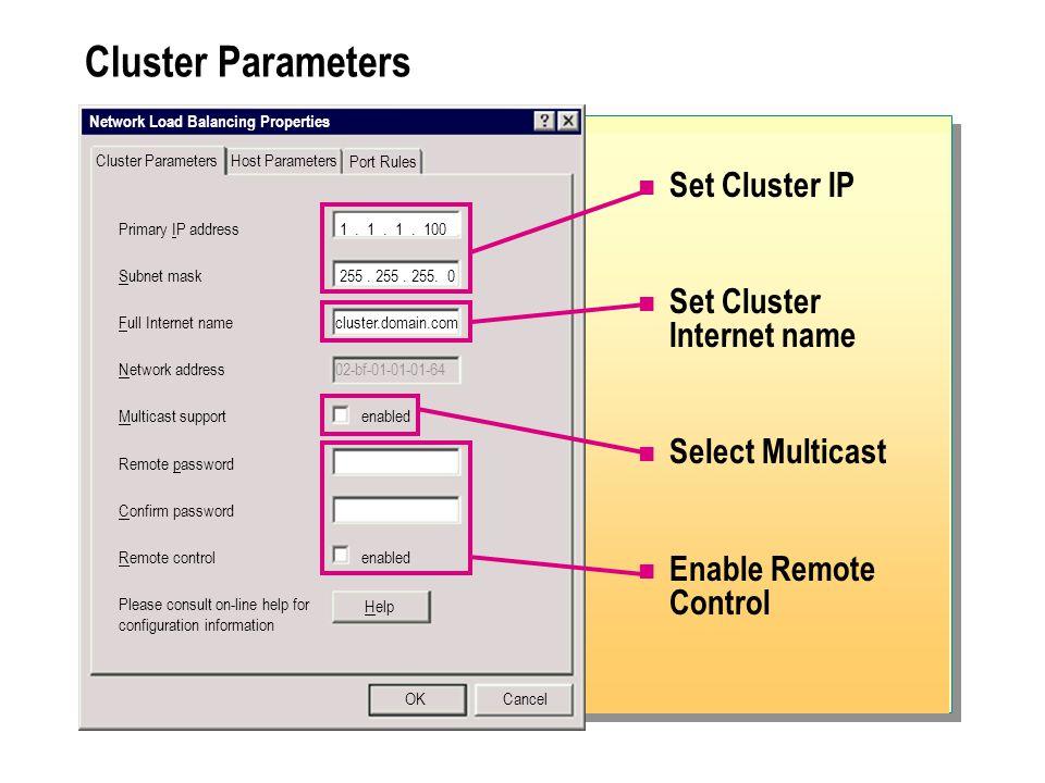 Cluster Parameters Set Cluster IP Set Cluster Internet name Select Multicast Enable Remote Control Network Load Balancing Properties Cluster Parameters Primary IP address 1.