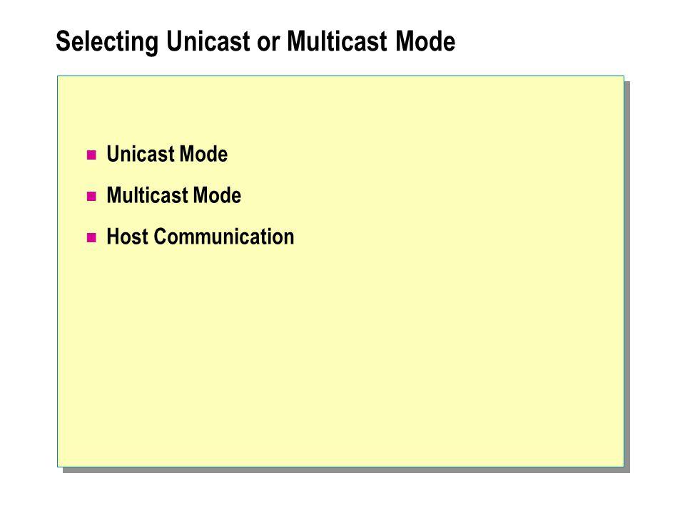 Selecting Unicast or Multicast Mode Unicast Mode Multicast Mode Host Communication