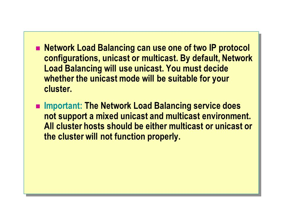 Network Load Balancing can use one of two IP protocol configurations, unicast or multicast.