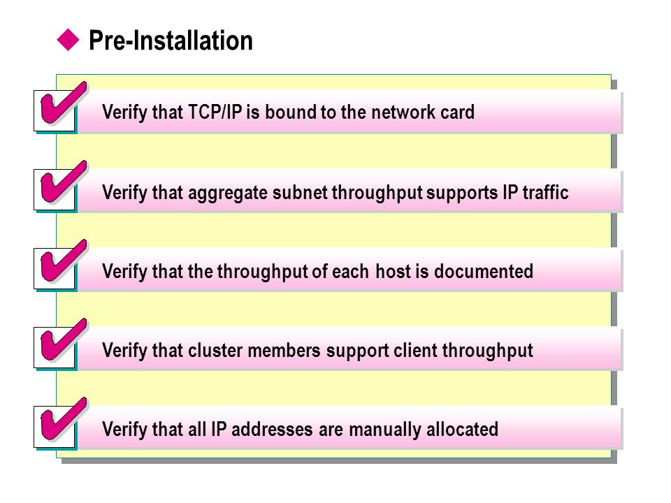  Pre-Installation Verify that aggregate subnet throughput supports IP traffic Verify that the throughput of each host is documented Verify that cluster members support client throughput Verify that all IP addresses are manually allocated Verify that TCP/IP is bound to the network card