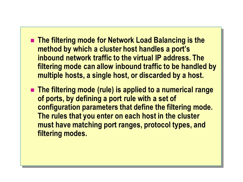 The filtering mode for Network Load Balancing is the method by which a cluster host handles a port's inbound network traffic to the virtual IP address.