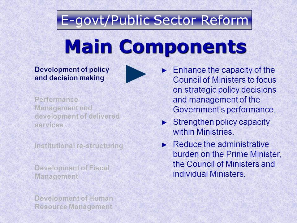 Main Components Development of policy and decision making Performance Management and development of delivered services Institutional re-structuring Development of Human Resource Management Development of Fiscal Management ► Enhance the capacity of the Council of Ministers to focus on strategic policy decisions and management of the Government's performance.