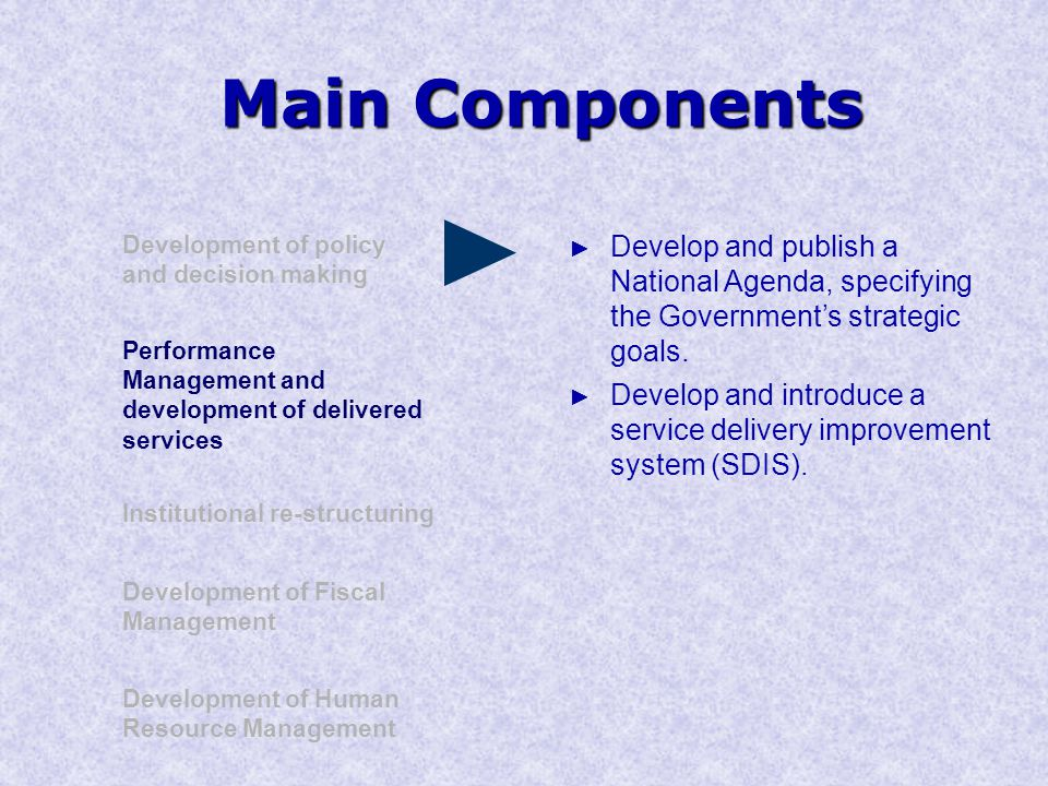 Main Components Development of policy and decision making Performance Management and development of delivered services Institutional re-structuring Development of Human Resource Management Development of Fiscal Management ► Develop and publish a National Agenda, specifying the Government's strategic goals.