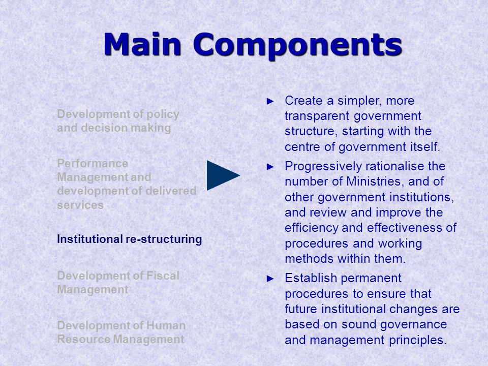 Main Components Development of policy and decision making Performance Management and development of delivered services Institutional re-structuring Development of Human Resource Management Development of Fiscal Management ► Create a simpler, more transparent government structure, starting with the centre of government itself.
