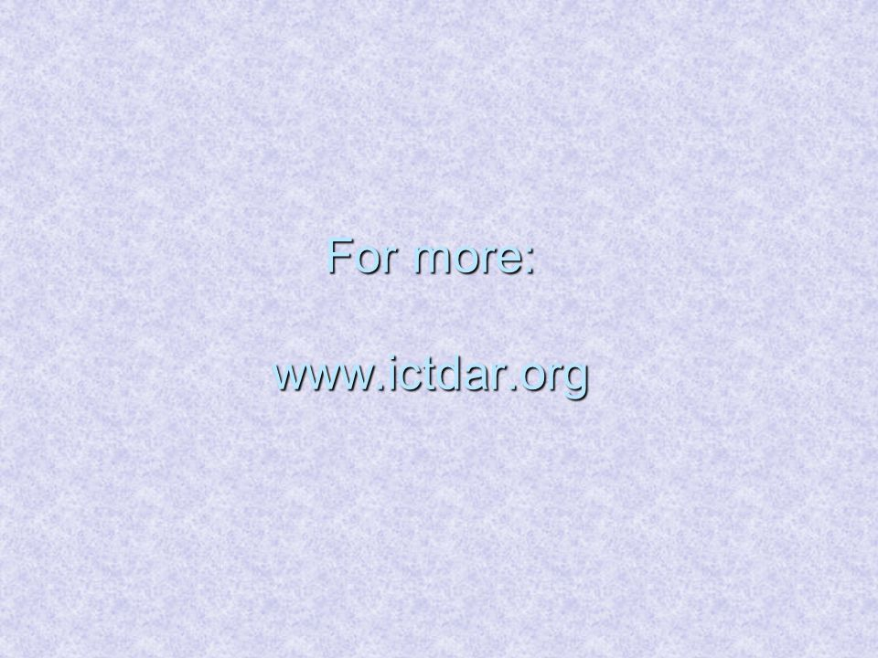 For more: www.ictdar.org