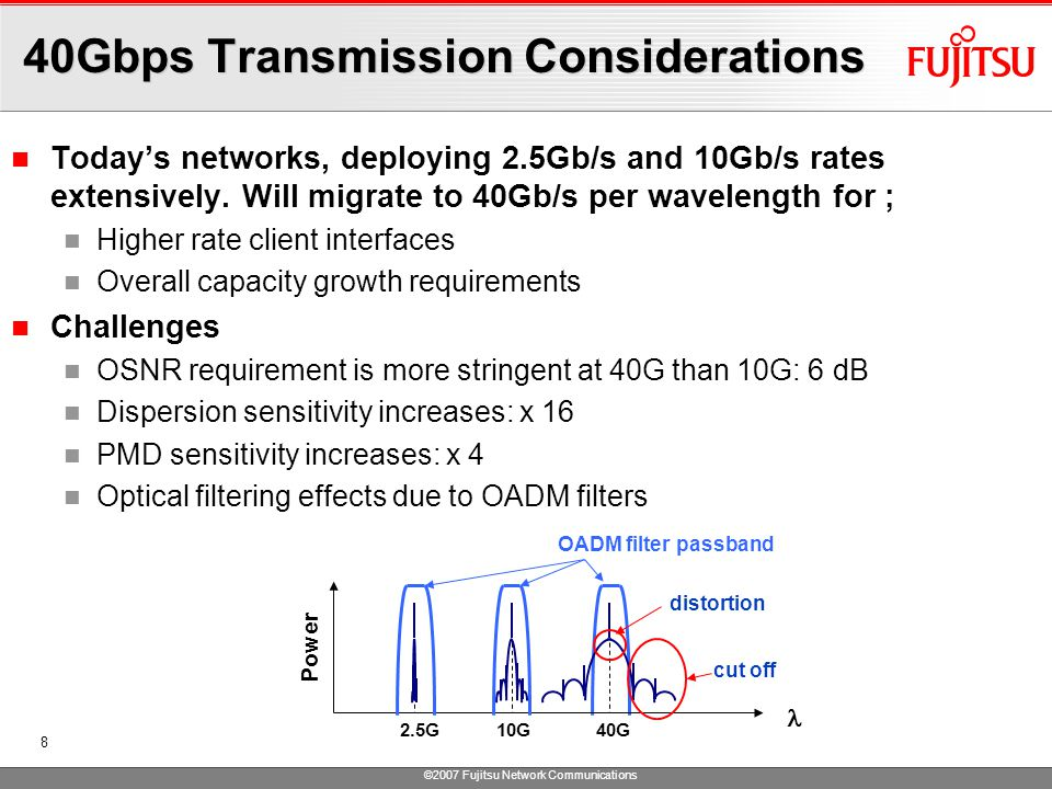 ©2007 Fujitsu Network Communications 8 40Gbps Transmission Considerations Today's networks, deploying 2.5Gb/s and 10Gb/s rates extensively.