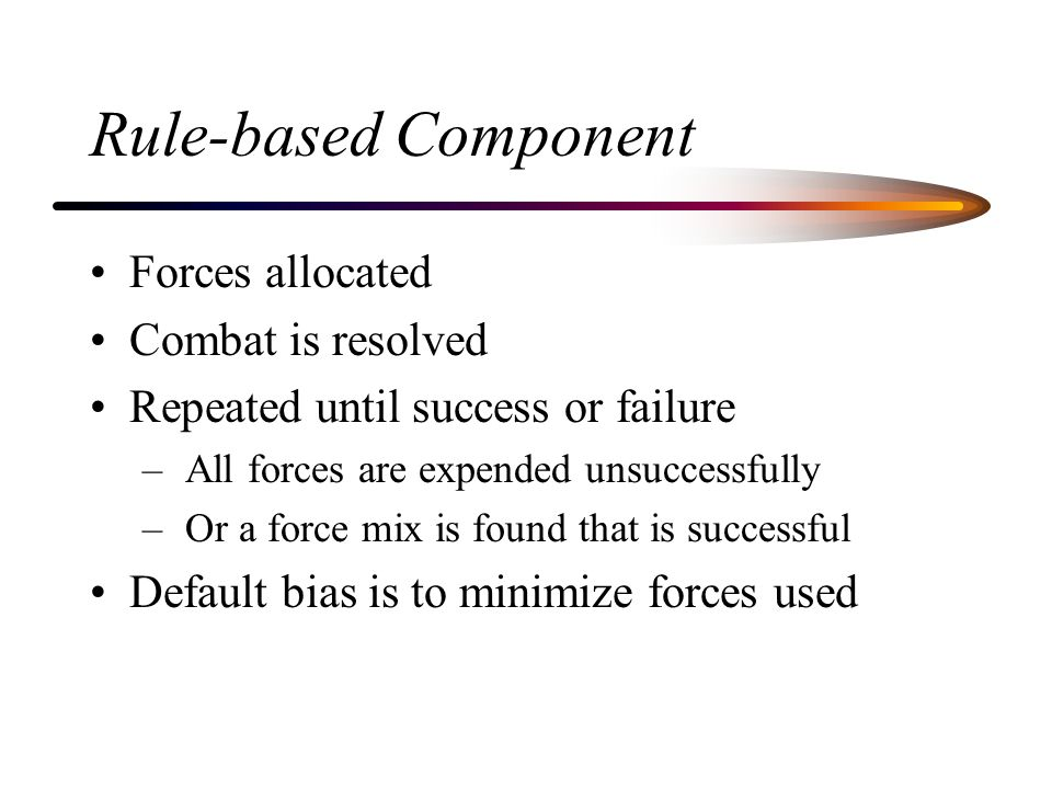 Rule-based Component Forces allocated Combat is resolved Repeated until success or failure – All forces are expended unsuccessfully – Or a force mix i