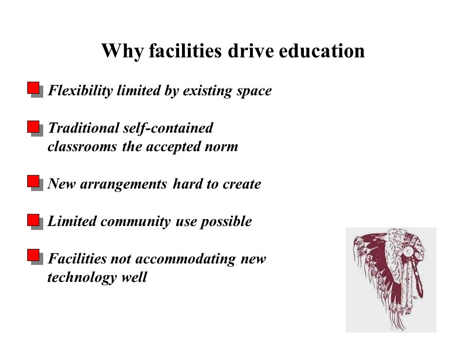 Flexibility limited by existing space Traditional self-contained classrooms the accepted norm New arrangements hard to create Limited community use possible Facilities not accommodating new technology well Why facilities drive education Problems & Opportunities