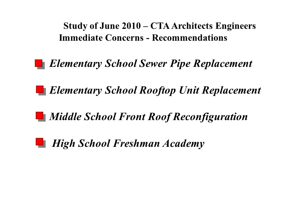 Study of June 2010 – CTA Architects Engineers Immediate Concerns - Recommendations Elementary School Sewer Pipe Replacement Elementary School Rooftop Unit Replacement Middle School Front Roof Reconfiguration High School Freshman Academy Problems & Opportunities