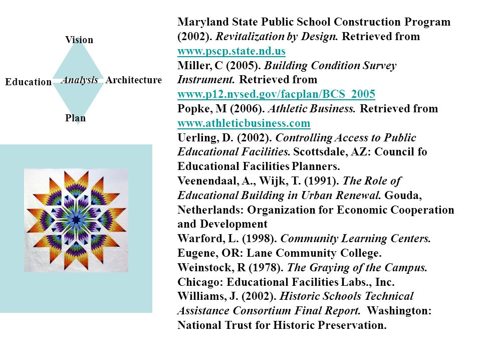 Plan for Implementation Vision Plan Architecture Education Analysis Maryland State Public School Construction Program (2002).